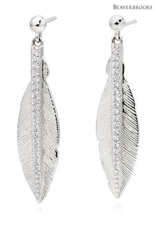 Beaverbrooks Silver Cubic Zirconia Feather Earrings