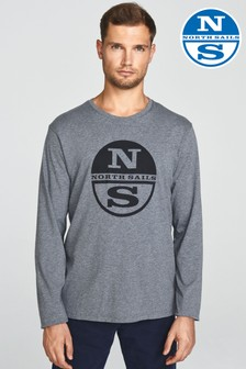 North Sails Grey Melange Long Sleeve Graphic T-Shirt