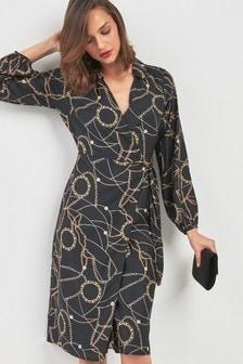 שמלת מעטפת עם צווארון קולר בהדפס שרשראות