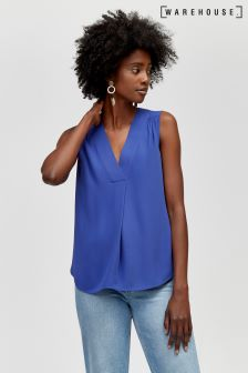 Warehouse Blue Pleat Front V-Neck Shell Top