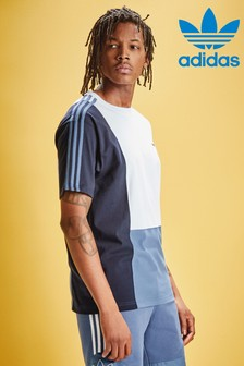 adidas Originals White/Blue Asymmetrical T-Shirt
