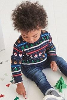 Christmas Fairisle Pattern Knit Look Crew (3mths-7yrs)