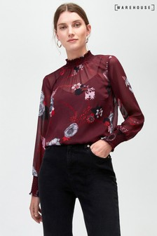 Warehouse Red Sprinkle Bloom Smock Long Sleeve Top