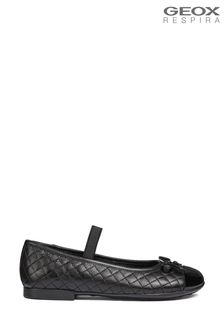 Geox Black Quilted Ballerina Shoe