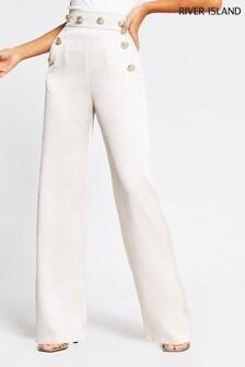 River Island Cream Button Waistband Wide Leg Trousers