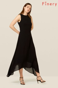 Finery London Brown Ashley Dipped Hem Dress