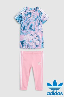 Ensemble legging et t-shirt adidas Originals bébé rose/bleu marbré