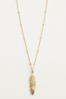 18 Carat Gold Plated Feather Detail Necklace