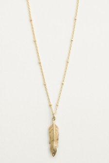 Halskette mit Anhänger im Feder-Design, Sterlingsilber