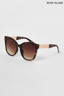 River Island Brown Print Daniella Oversized Sunglasses