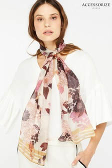 Accessorize Brown Mocha Floral Silk Classic Scarf