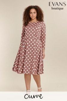 Evans Neutral Curve Spot Dress