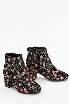 Evans Black Extra Wide Fit Embroidered Velvet Boot