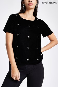 River Island Velvet Embroidered Tee