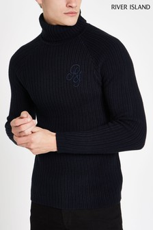River Island Navy Ribbed Roll Neck Jumper