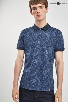 Pretty Green Navy Paisley Ranson Polo