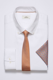 Textured Regular Fit Shirt With Orange Tie And Pocket Square Set