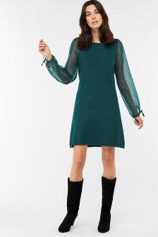 Monsoon Teal Wendy Woven Sleeve Dress