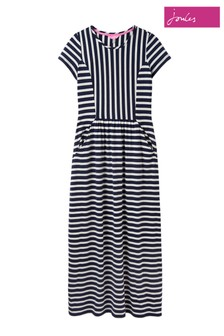 Joules Blue Trudy Short Sleeve Maxi Dress