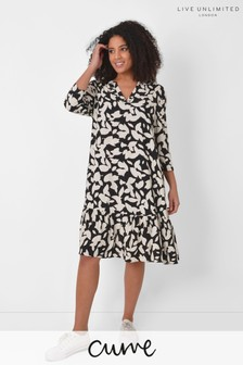 Live Unlimited Curve Mono Leaf Tiered Dress