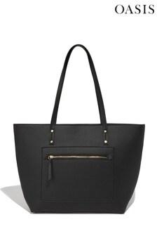 Oasis Black Zadie Zip Top Shopper Bag