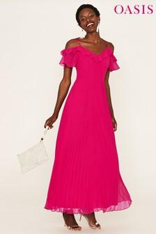 Oasis Pink Pleated Chiffon Maxi Dress