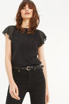 Oasis Black Angel Sleeve Top