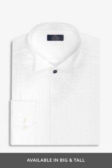 Slim Fit Single Cuff Wing Collar Shirt With Pleated Bib