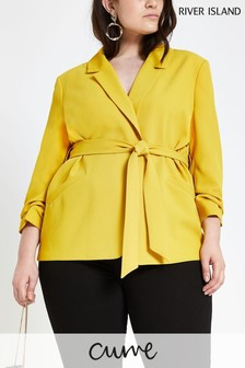 River Island Curve Yellow Belted Jacket