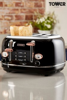 Tower Black 4 Slot Toaster