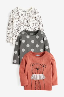 Bear 3 Pack Long Sleeve T-Shirts (3mths-7yrs)