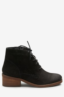 Suede Lace-Up Ankle Boots