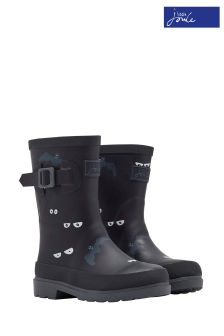 Joules Dark Grey Eyes And Bats Printed Welly