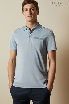 Ted Baker Blue Carosel Flat Knit Collar Oxford Soft Touch Polo