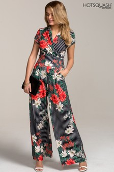 HotSquash Pin Striped Floral Wide Leg Jumpsuit