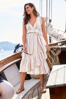 Kopertowa sukienka w paski