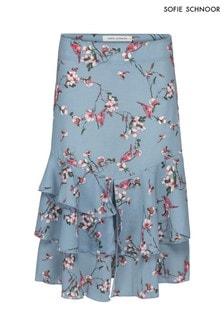 Niebieska spodnica z nadrukiem w kwiaty Sofie Schnoor
