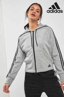 adidas Grey Must Have 3 Stripe Zip Through Hoody