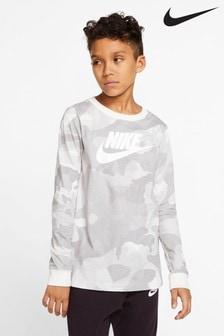 Футболка с длинными рукавами и камуфляжным принтом Nike
