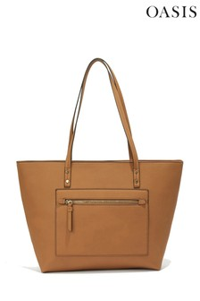 Oasis Tan Zadie Zip Top Shopper Bag