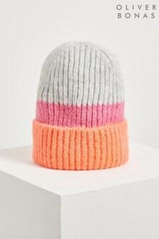 Oliver Bonas Orange Striped Block Knitted Beanie Hat