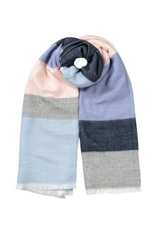 Oliver Bonas Blue Brushed Stripe Blue Scarf