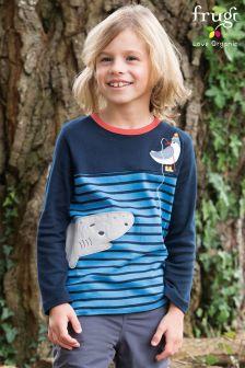 Frugi Blue Breton Peter Panel Shark T-Shirt