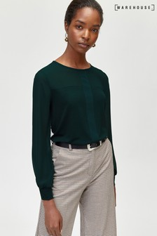 Warehouse Green Woven Mix Placket Top