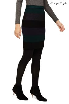 Phase Eight Green Cecelia Stripe Knit Skirt