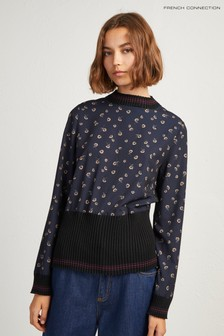French Connection Blue Floral Jumper