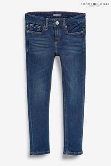 Niebieskie, dopasowane spodnie Tommy Hilfiger