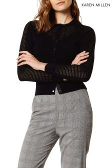 Karen Millen Black Sheer Panel Grid Knit Jumper