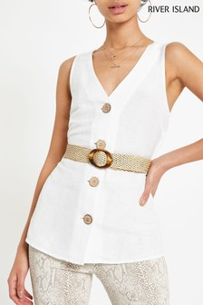 River Island White Kimmy Belted Top