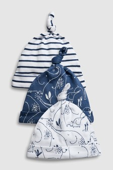 Delicate Elephant Tie Top Hats Three Pack (0-18mths)